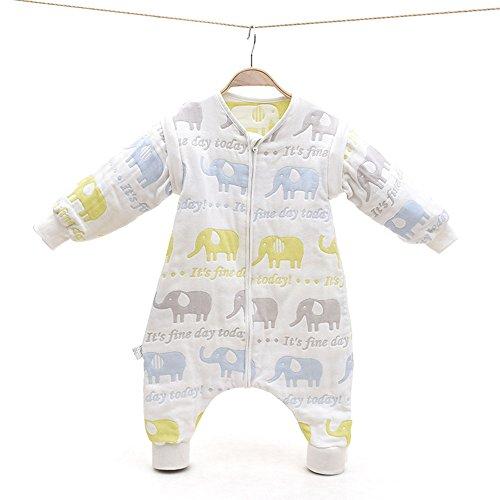 EsTong Baby Toddler Cotton Sleep Bag and Sack Detachable Sleeve Wearable Blanket Colorful Elephant Large
