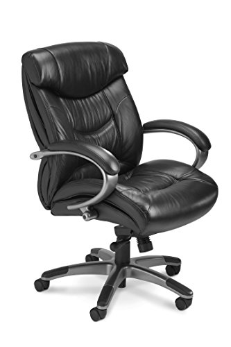 Mayline UL230MBLK Ultimo 200 Mid Back Perforated Task Chair with Arms, Black Leather (Ultimo Executive Mid Back Chair)