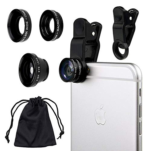 3 in 1 Fisheye Lens Universal Lens kit Clip-on 180 Degree Fisheye+Wide Angle+Macro Camera Lens for iPhone 5 6 7 8 Plus Samsung s8 s9 Note 4/3/2 HTC BlackBerry Bold Touch, Sony Xperia