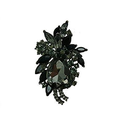 TTjewelry Vintage Flower Drop Pendant Brooch Pin Black Austria Crystal for sale 1wZ0ZT1A