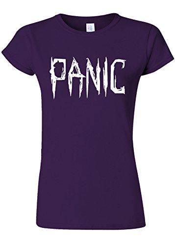 干し草トランペット万一に備えてPanic Relax Cool Funny Novelty Purple Women T Shirt Top-L