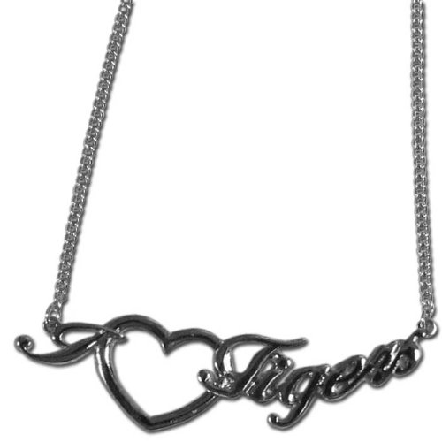 (NCAA LSU Tigers Heart Script Necklace)