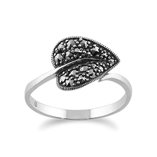 - Sterling Silver Art Nouveau 0.4ct Marcasite Leaf Ring