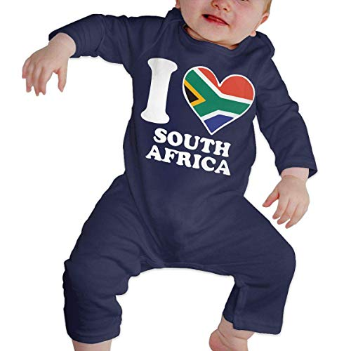 Newborn Baby Coverall I Love South Africa South African Flag Heart-1 Baby Rompers Navy