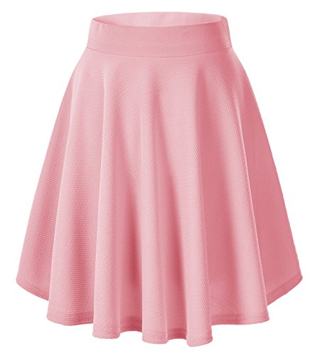 Urban CoCo Women's Basic Versatile Stretchy Flared Casual Mini Skater Skirt (Large, Pink-Long)