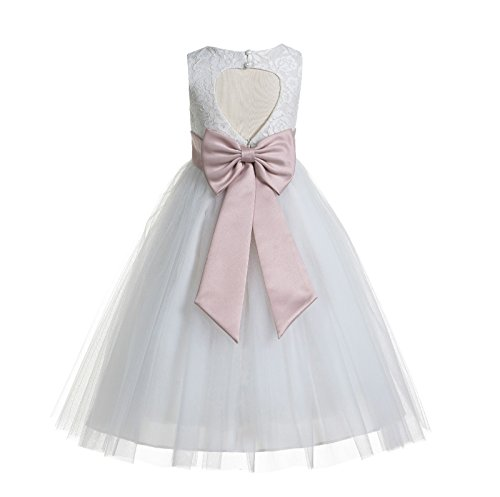 ekidsbridal Floral Lace Heart Cutout White Flower Girl Dresses Blush Pink Holy Communion Dress Baptism Dresses 172T 8 ()