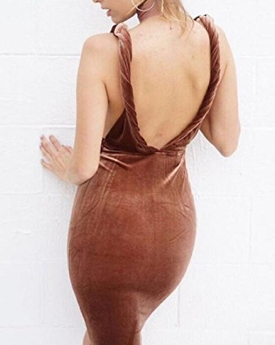 Back Women's Party Brown Dress Off Comfy Color Solid V Deep Neck Evening Hfn8daW8S