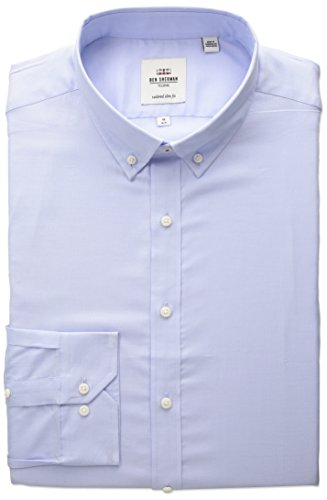 Ben Sherman Men's Slim Fit Oxford Button-Down Collar Dress Shirt, Blue, 17 32/33