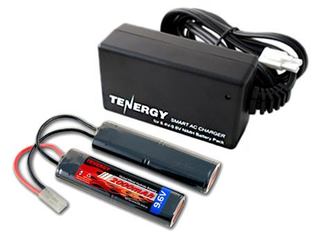 Combo: Tenergy 9.6V 2000mAh Nunchuck NiMH Airsoft Battery Pack + 8.4V-9.6V NiMH Smart Charger by Tenergy