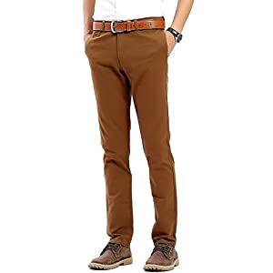 Men's Flat Front Slim Tapered Stretch Casual Pants 100% Cotton Dress Pants Trousers for Men,22 Color Choices