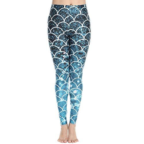 Women's Bold 3D Digital Print Yoga Pants Workout Leggings Mermaid XL]()