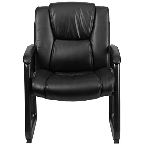 Flash Furniture HERCULES Series Big & Tall 500 lb. Rated Black Leather Executive Side Reception Chair with Sled Base by Flash Furniture (Image #3)