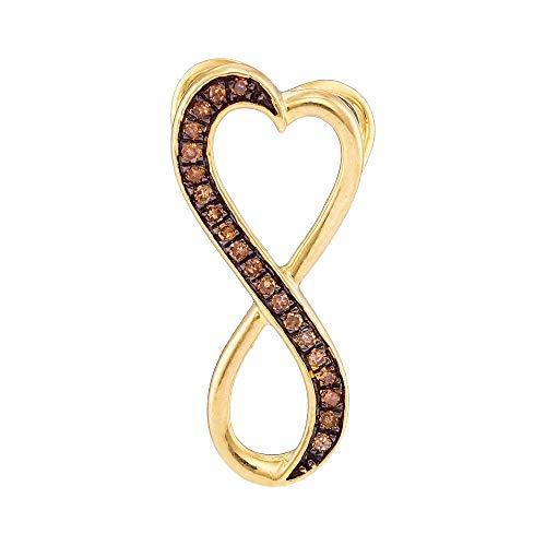 Jewel Tie Solid 10k Yellow Gold Round Chocolate Brown Diamond Heart Infinity Pendant (1/10 Cttw.)