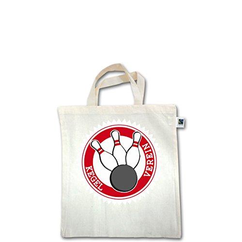 Bowling & Kegeln - Kegel Verein Badge Abzeichen - Unisize - Natural - XT500 - Fairtrade Henkeltasche / Jutebeutel mit kurzen Henkeln aus Bio-Baumwolle