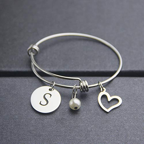 EIGSO Initial Bracelet Letter Bracelet with Heart Charm Memory Bracelet Jewelry Gift for her (BR-S) … by EIGSO (Image #7)