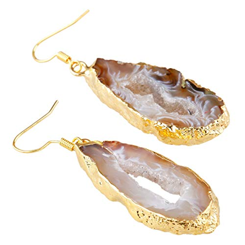 TUMBEELLUWA Agate Geode Quartz Druzy Slice Healing Crystal Dangle Earrings, Light Color(Gold Plated)