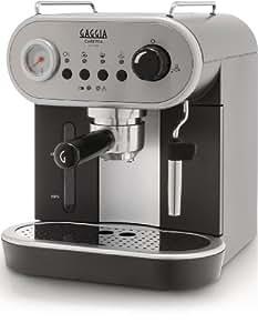 Gaggia Carezza - Cafetera (Independiente, Negro, Acero inoxidable, Acero inoxidable, De café molido, Vaina, Café expreso, Leche caliente, Agua caliente, 1,4L)