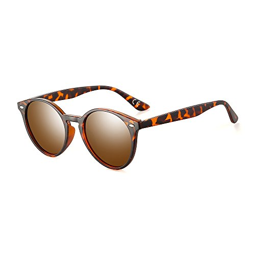 2020Ventiventi Lightweight Leopard Frame/Brown Lens Round 49mm Polarized Small Sunglasses for Driving PL304C03 -