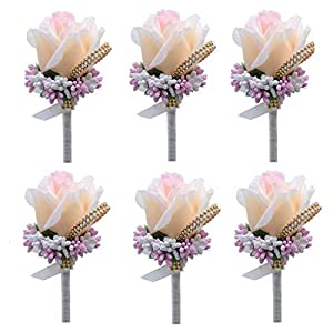 Bomandu 6PCS Artificial Rose Boutonniere Silk Men Corsage Groom Flowers Brooch with Pin and Clip for Wedding Prom Party 86