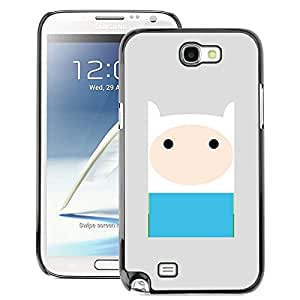 A-type Arte & diseño plástico duro Fundas Cover Cubre Hard Case Cover para Samsung Note 2 N7100 (Comic Character Blue Grey Cute Sweet)