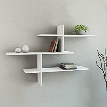 Amazon Com Leo 3 Shelf Wall Shelf White H 32 Quot W 46 Quot D 8 6