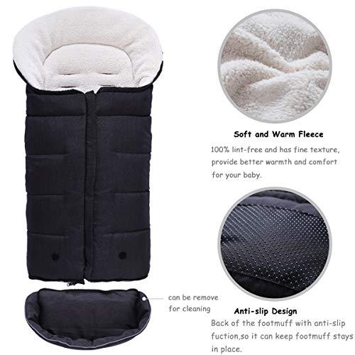 Minetom Saco de Invierno Universal para Cochecito Saco de Dormir para Bebé Saco para Pies de Bebés Protección Antideslizante Cálido Vello de Cordero Suave y ...