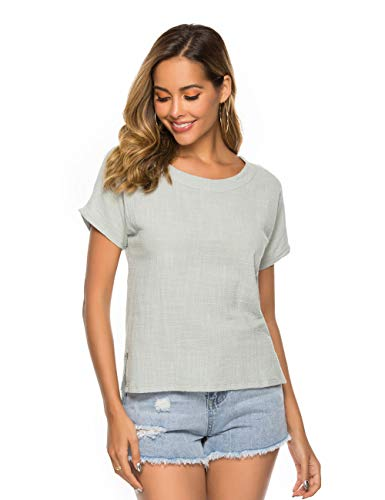 Prior Jms Women's Linen T-Shirt Blouse Casual Loose Long Sleeve Tops Cotton Linen Round Collar Shirs Tunic