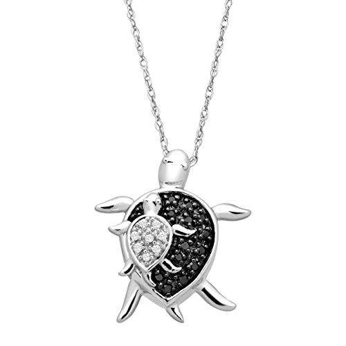 Mother & Baby Turtle Pendant Necklace with Black & White Diamonds in 10K White ()