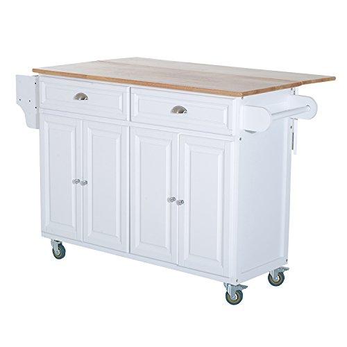 Kitchen Island Table On Wheels: HOMCOM Wood Top Drop-Leaf Multi-Storage