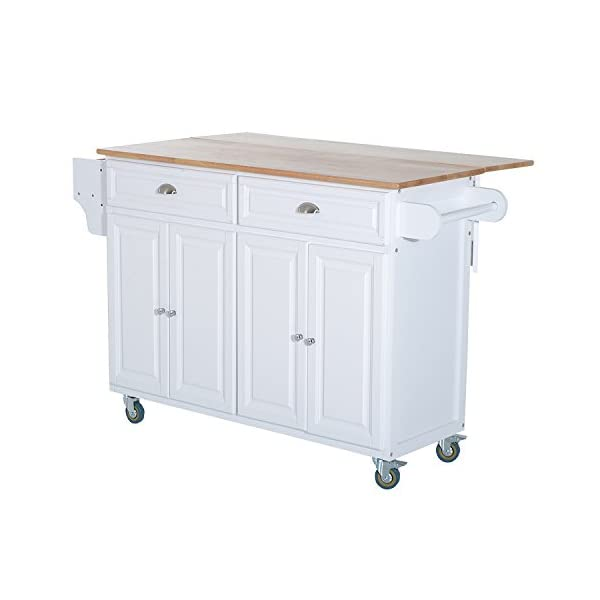 HOMCOM Rolling Kitchen Island on Wheels Ultility Cart with Drop-Leaf and Rubber Wood Countertop, Storage Drawer, Door…