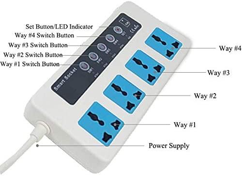 CUHAWUDBA GSM SMS Control Remoto Inal/áMbrico Interruptor de Encendido Inteligente Enchufe Jack Controlador Rel/é de 4 Canales con Sensor de Temperatura Enchufe de la UE
