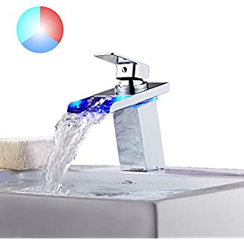 Bathroom Sink Faucet, TAPCET LED Single Handle Waterfall Faucet ...