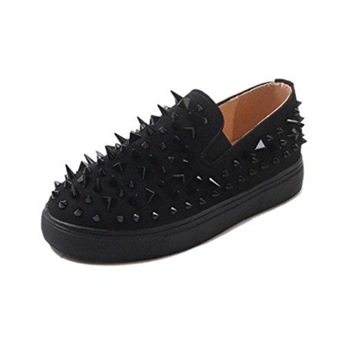 Giy Femmes Mode Rivets Mocassins Plat Mocassin Daim Bout Rond Slip-on Classique Penny Loafer Oxford Chaussure Noir