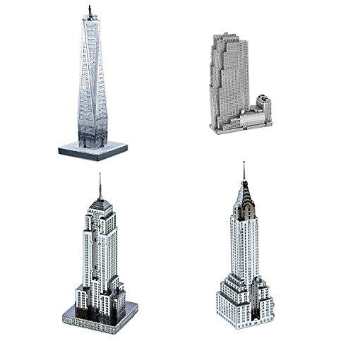 Set of 4 Metal Earth 3D Laser Cut Models: 30 Rockefeller Plaza, Empire State Building, Chrysler Building, & One World Trade - Center Plaza