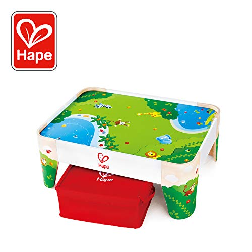 Hape Railway Play Table | Kids Table with Fabric Storage Box for Train Sets and Accessories, Jungle Themed Graphics, Sturdy Wooden Table Perfect for Railway Play