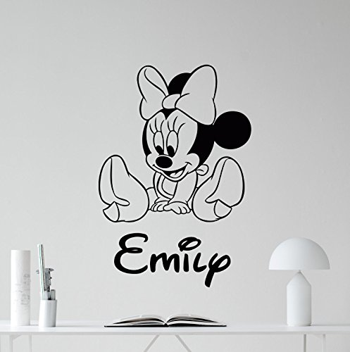 Cool Disney Names (Personalized Minnie Mouse Wall Decal Girl Kids Custom Name Mickey Mouse Walt Disney Cartoons Vinyl Sticker Baby Girl Customized Personal Kids Room Wall Art Bedroom Nursery Wall Decor Mural 116crt)