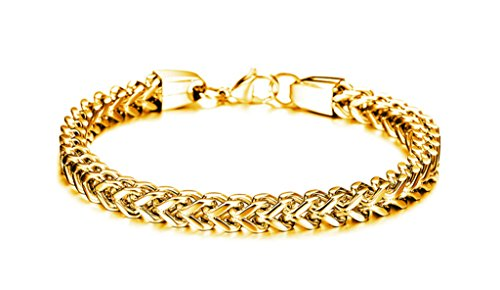 Alimab Jewelry 18K Gold Plated Stainless Steel Man Link Gold Bracelet 24CM