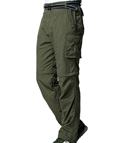 Men's Outdoor Anytime Quick Dry Convertible Lightweight Hiking Fishing Zip Off Cargo Work Pant #225,Army Green,XXS 29 (29 Green)