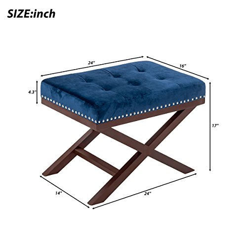 Harper&Bright Designs Upholstered Tufted X Bench Ottoman with Nailhead Detail and Solid Wood Legs (Indigo) by Harper&Bright Designs (Image #2)