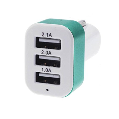 Price comparison product image Car Charger, Muxika Universal 12V 24V To 5V 3 USB Charger Adapter for Cell Phone (Green)