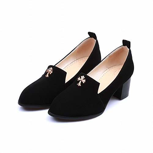 Show Shine Womens Chic Mid Heel Shoes Nero