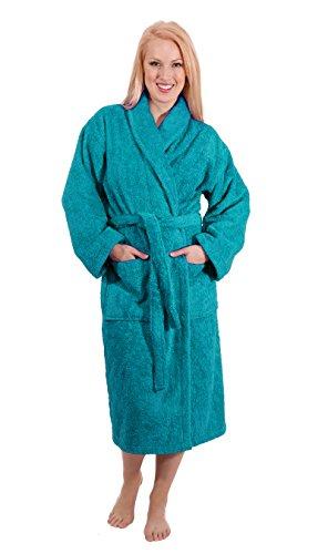 Luxury Terry Cloth Hotel Bathrobe - Premium 100% Turkish Cotton Robe Unisex (Medium, Aqua)