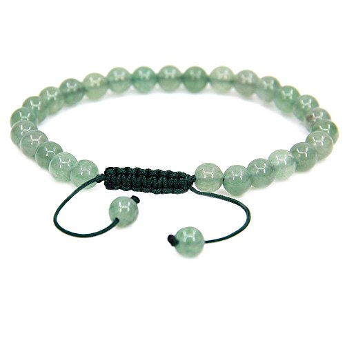 Natural Green Aventurine Gemstone 6mm Round Beads Adjustable Bracelet 7