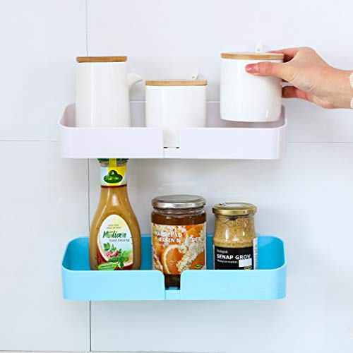 MSOO Plastic Bathroom Kitchen Corner Storage Rack Organizer Shower Shelf (Blue)