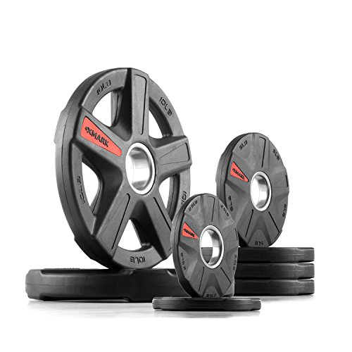 XMark Texas Star 45 lb Set Olympic Plates, Patented Design, One-Year Warranty, Olympic Weight Plates by XMark Fitness (Image #5)