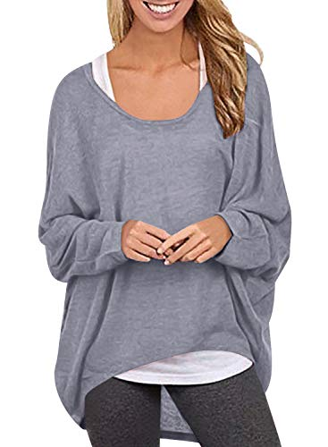 Cotton Oversized Sweater - Yidarton Womens Sweater Casual Oversized Baggy Off-Shoulder Long Sleeve Pullover Shirts Tops (X-Large, Light Gray-1)