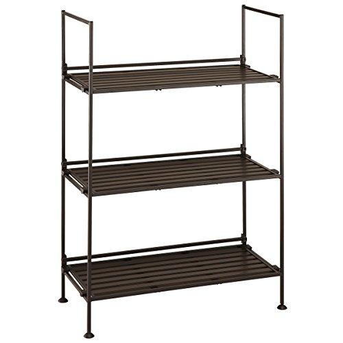 Neu Home Espresso 3 Tier Wide Free Standing Storage Shelf - No Tool Assembly by Neu Home
