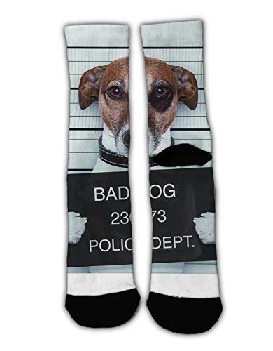 RWFANCY Christmas Holiday Socks Bad Dog Soft Warm Winter Socks, Women's Crazy Fun Colorful Dress Socks 1 Pair ()