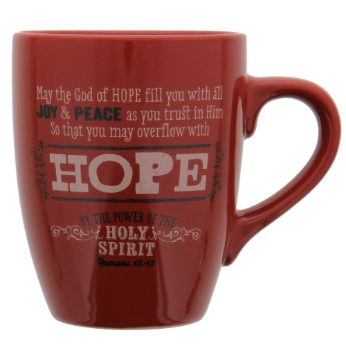 "Retro Blessings Red ""Hope"" Verse Mug – Romans 15:13"