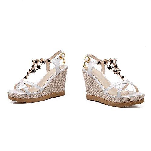 AllhqFashion Women's Open Toe High Heels Buckle Solid Sandals White kGhRC